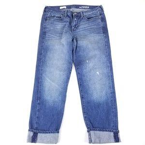 GAP Dark Wash Distressed Sexy Boyfriend Jeans